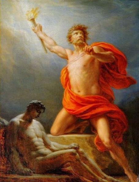 En la mitología Griega, Prometeo es el Titán amigo de los mortales, honrado principalmente por robar la sabiduría y el fuego de los dioses y darlo  los hombres para su uso.
